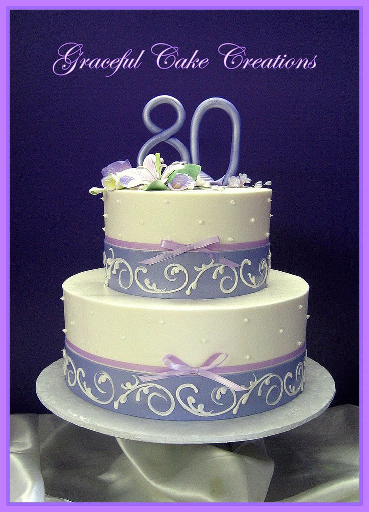 Elegant 80th Birthday Cake with Purple and Lavender   by Graceful Cake Creations