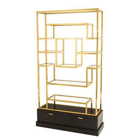 Витрина CABINET LA RESERVE выполнена из металла медного цвета. Основание из черно-коричневого дерева, два выдвижных ящика. Полки выполнены из плотного прозрачного стекла.