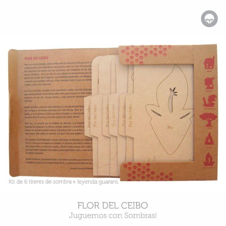 Kit para jugar con sombras basado en Leyenda Guaraní de la Flor del Ciebo, Argentina. Oh! Pacha Juguetes #shadow #puppets #titeres #sombras #leyendas #ecotoys #juegos