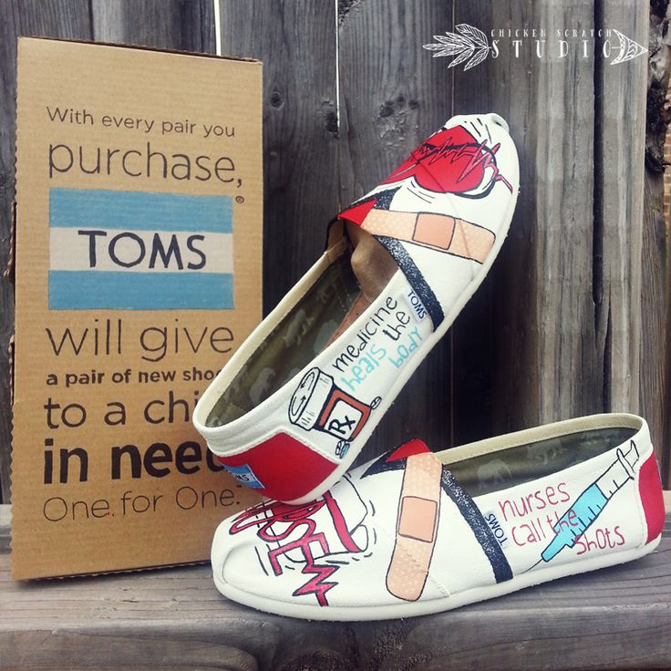 Custom Hand Painted Canvas TOMS Shoes - NURSE CUSTOM HAND PAINTED TOMS