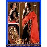indian-designer-orange-half-half-saree