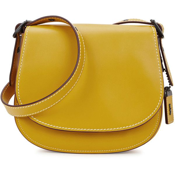 Coach Saddle Bag 23 Yellow Leather Bag ($515) ❤ liked on Polyvore featuring bags, handbags, shoulder bags, beige leather handbag, coach shoulder bag, embossed leather purse, coach purses and saddle bags