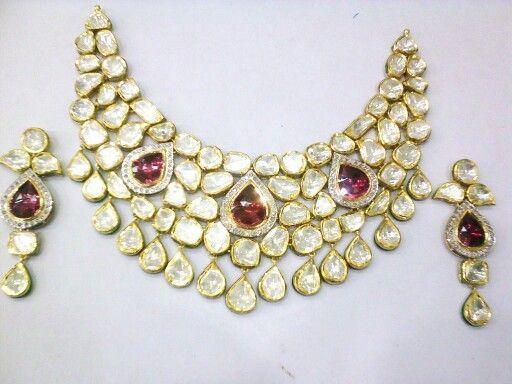 Polki diamonds set with rubies