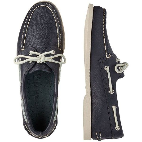 Men's Sperry Top-Sider Authentic Original Boat Shoes ($95) ❤ liked on Polyvore featuring men's fashion, men's shoes, men's loafers, navy, mens leather lace up shoes, mens leather deck shoes, mens leather shoes, mens topsiders and mens shoes
