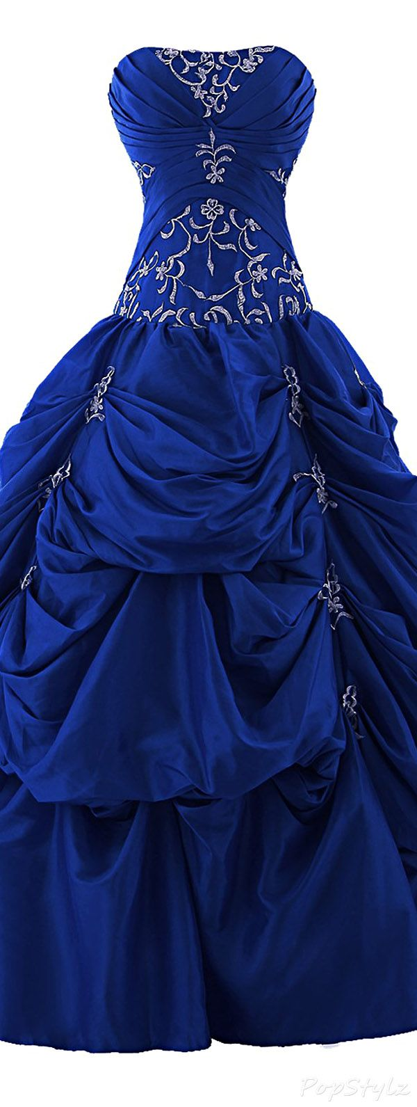 Sunvary Long Appliqued Strapless Ruffled Ball Gown