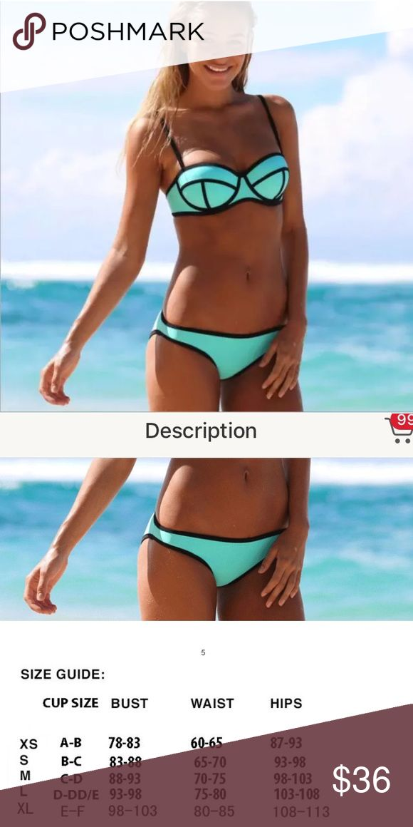 🆕List! Aqua Green Triangle Bikini Swimsuit! NEW! Teal scuba suit material! Underwire formed cups. Cup size D/DD. Size large only. Boutique Swim Bikinis