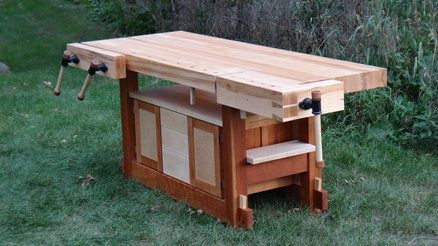 Beautiful bench. Idea for under-bench storage without compromising clamping utility.