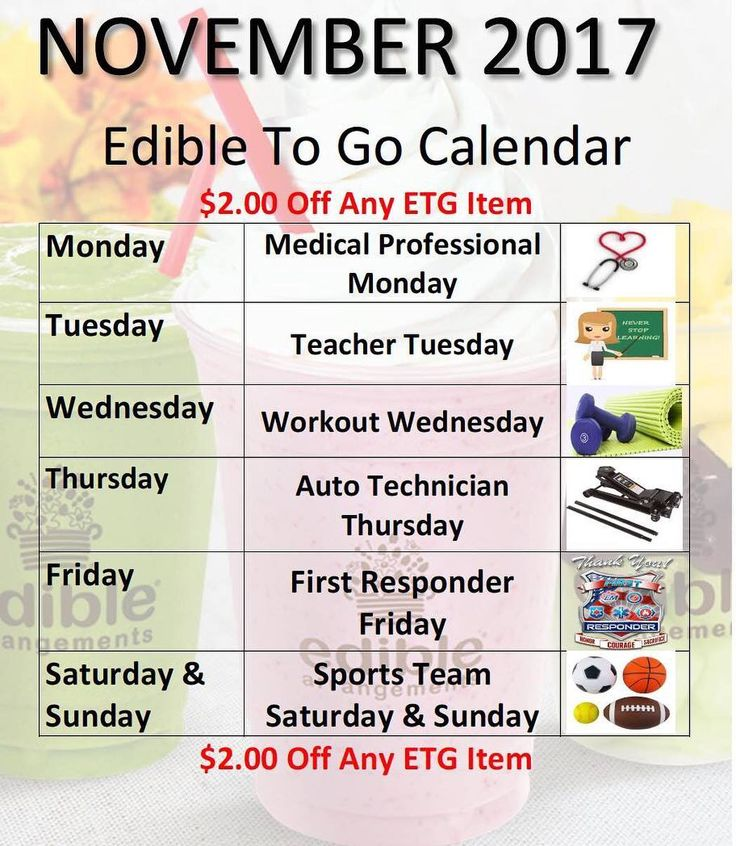 Check out our November Edible To Go Promotional Calendar!! #workout #protiensmoothie #doctors #nurses #medtechs #teachers #gymmembers #autotech #mechanic #firstresponders #sports #sportsteams #edibletogo #smoothie #dippedfruitcone #froyo #ediblearrangementsbuford