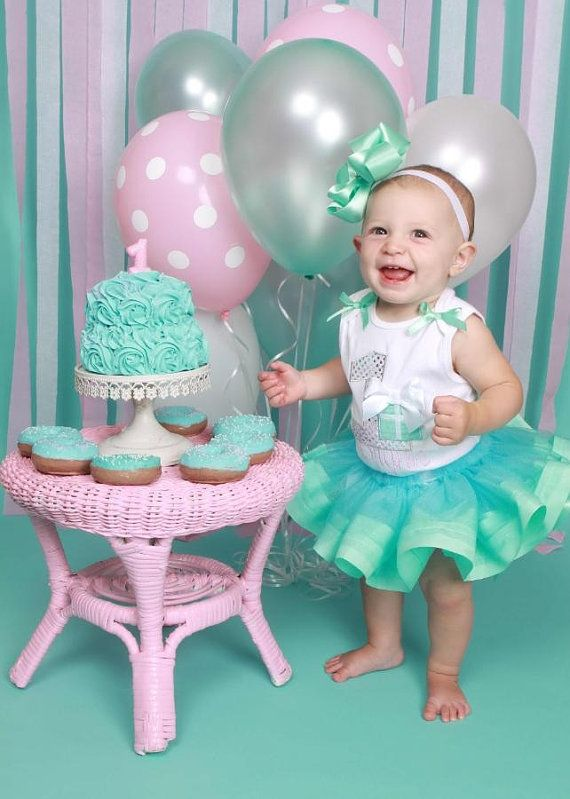 First Birthday Aqua Blue Rosette Cake by FakeCupcakeCreations