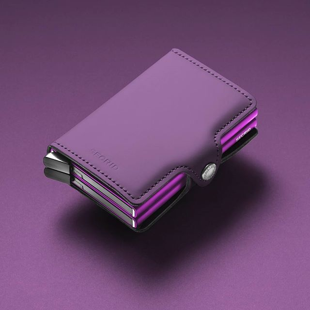Accessories Photography by Frank Brandwijk for Secrid I 'Twinwallet Matte Purple' 'Secrid' 'Ton sur Ton' 'Accessories Product Stills' 'Detail' 'Leather on the Outside and Aluminium Within' 'Dutch Craftsmanship'