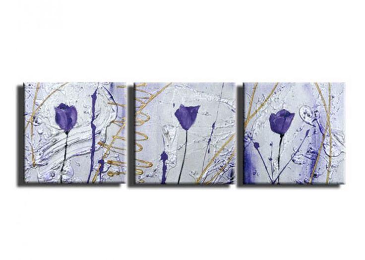 OFERTA! Tablou pictat manual Flori de camp fond argintiu Minimalism 3 paneluri set decorativ pentru living dormitor birou