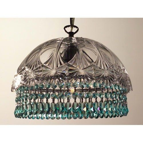 Classic Lighting 8221-CH Prague 1 Light Pendant with Crystal Accents (crystalique-plus antique green)