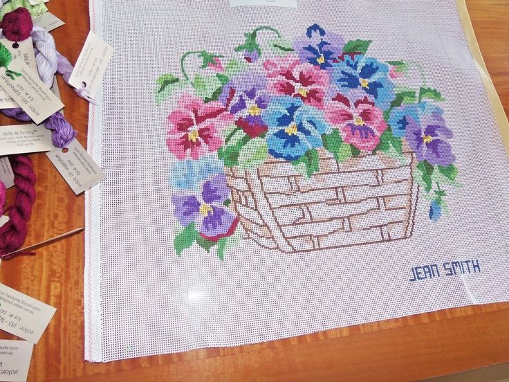 HAND PAINTED JEAN SMITH PANSY BASKET NEEDLEPOINT CANVAS + THREADS | eBay