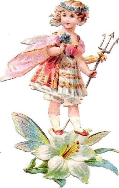 Oblaten Glanzbild scrap die cut  chromo Blumen Kind Elfe elf  flower child