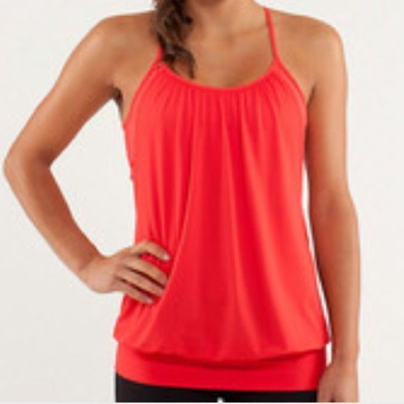 Lululemon No Limits Tank Lululemon No Limits Tank in red, size 6. Worn a couple of times, EUC. Beautiful flowy red top with red striped built in bra. Does not include bra cups. lululemon athletica Tops Tank Tops