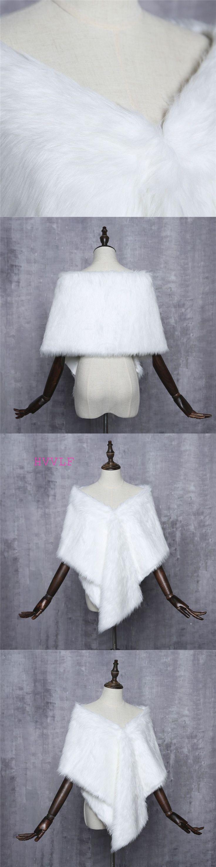New Bridal Jacket Coat Faux Fur White Wraps Bolero Shrug Wedding Shawls Wraps Wedding Accessories #shrugs