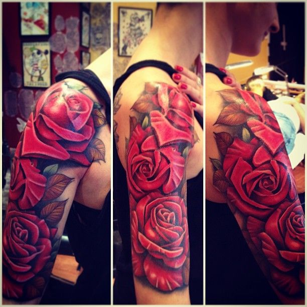 50 Glorious Rose Tattoo Design Ideas That You Ever Seen: Stunning Red Rose Upper Sleeve By By The Family Business