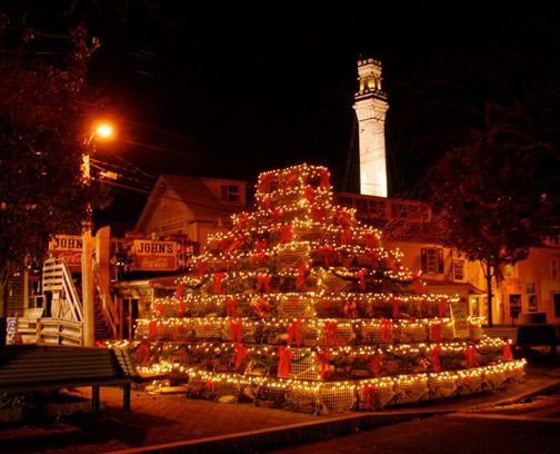 A beautiful sight...Lobster Pot Tree with the Pilgrim Monument in the background.  Provincetown, MA Cape Cod