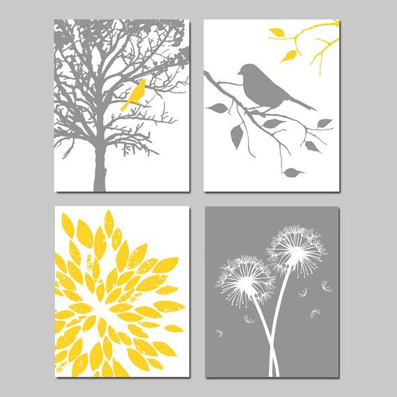 Yellow Gray Nursery Art Quad - Bird in a Tree, Bird on a Branch, Abstract Floral, Dandelions - Set of Four 8x10 Prints - Choose Your Colors