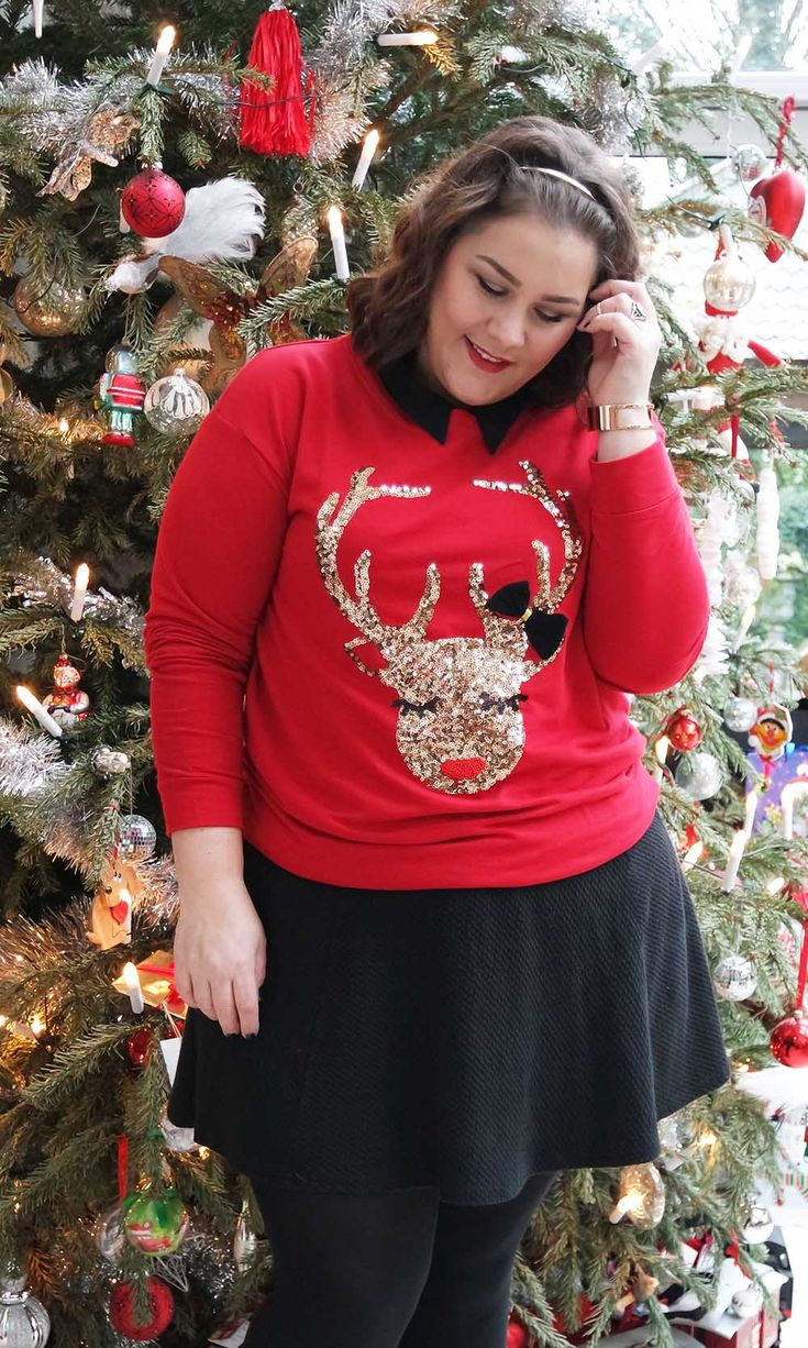 It's the day of Christmas Eve and I'm reindeer ready with this look   #2016 #Christmas sweater #curvy #H&M #MS Mode #plus size #RI Plus #River Island #ugly Christmas jumper #Yours Clothing