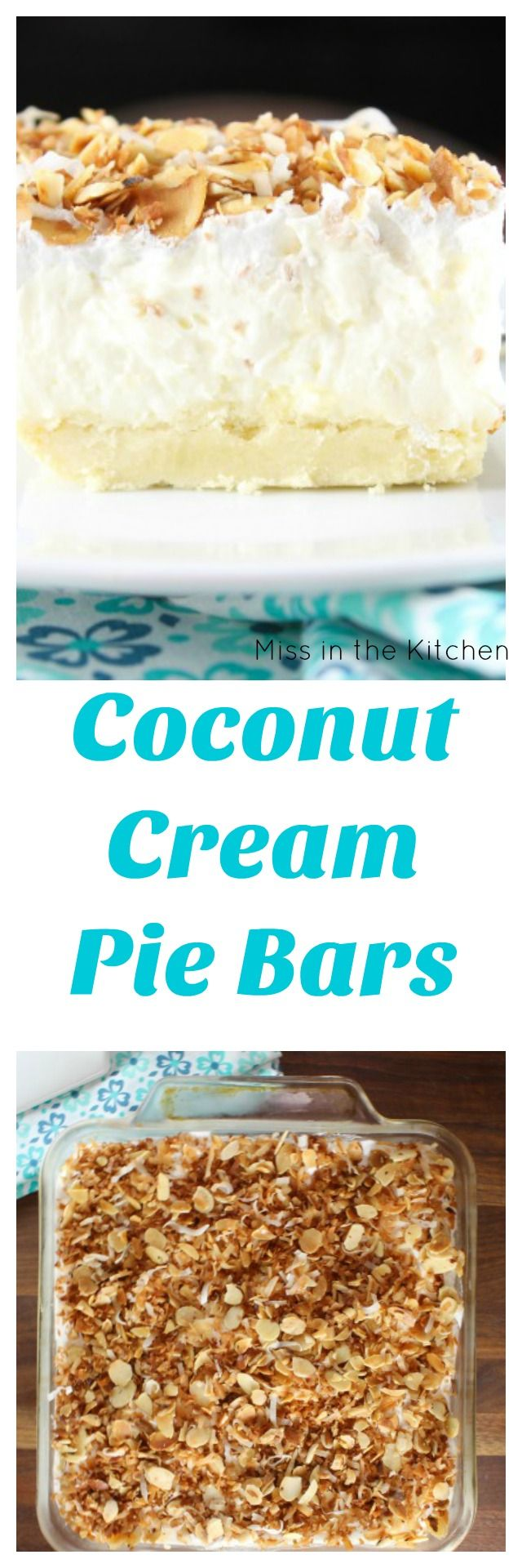 Coconut Cream Pie Bars Recipe found at MissintheKitchen.com