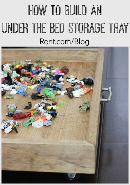 This DIY rolling under the bed storage tray is perfect for organizing your kid's bedroom. Roll it out to the middle of the room to build things on and play, then store it back under the bed when not in use!