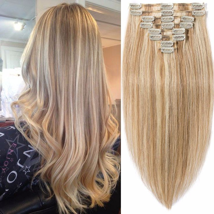Standard Weft 20 Inch 105g Clip in 100% Real Remy Human Hair Extensions 8 Pieces 18 Clips #12/613 Golden Brown/Bleach Blonde