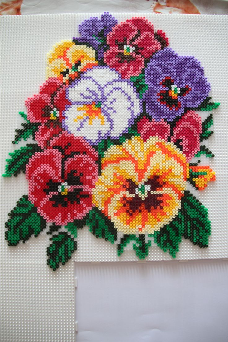 Pansy floral bouquet hama perler beads