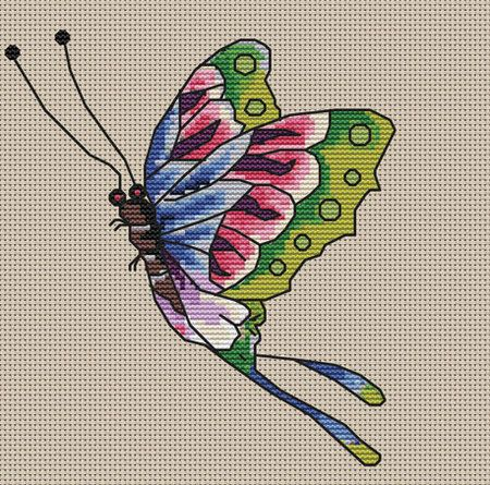Ed Hardy Rainbow Butterfly Needlepoint Pattern
