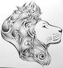 lion, tattoo. would be cool to do words for hair in a fancy script
