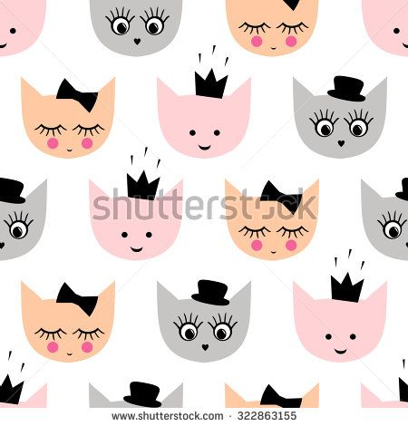 Seamless pattern with funny girlish cats with hat, crown, bow for kids holidays on white background. Cute  cartoon kitty vector background illustration. - stock vector