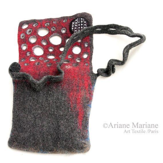 Women Felt Bag Artiste Hand Bag Wool Silk Cotton by ArianeMariane