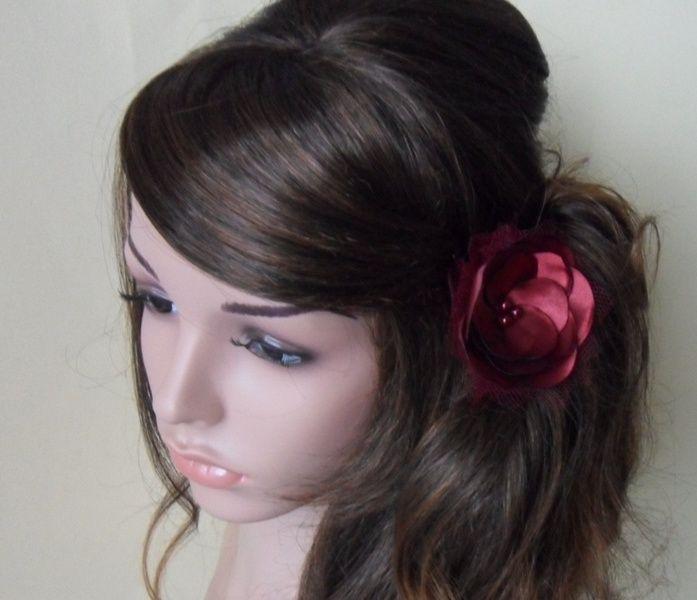 18,-  //  Haargesteck   bordeaux farbe Brautschleier von Cosara auf DaWanda.com
