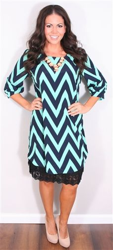 Navy and Mint Chevron Dress