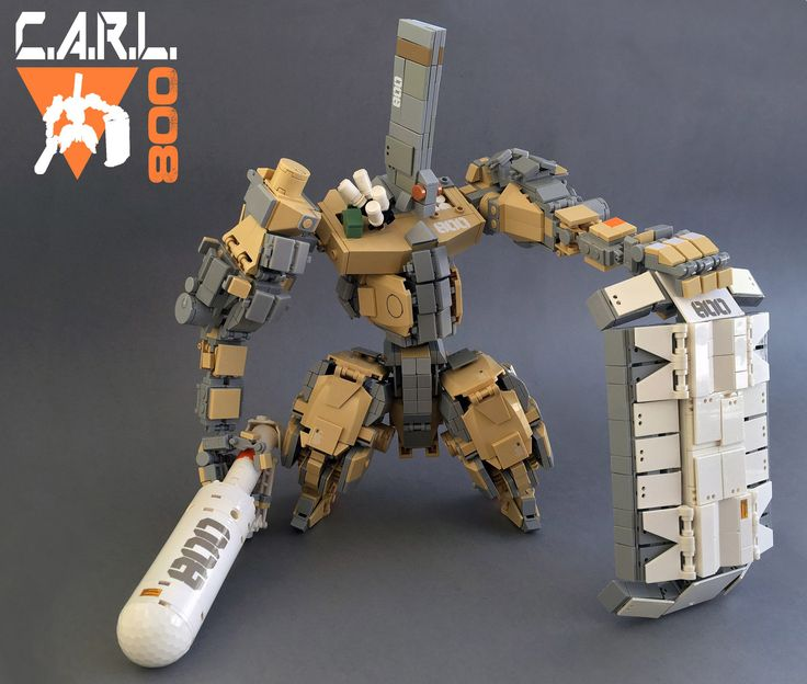 https://flic.kr/p/HvoSK5   C.A.R.L. 800   The C.A.R.L. 800 is a heavy melee mech with a big Club and a heavily armored shield. Inspired by the game Front Mission and the Frame Arms Model Kits.