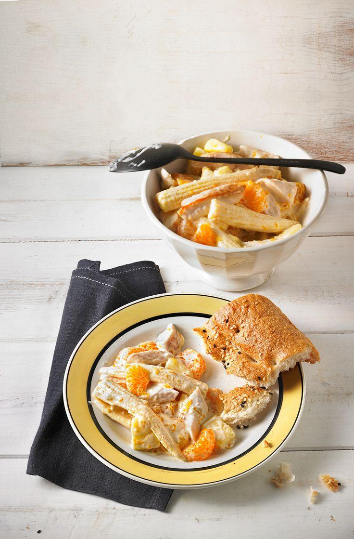 Geflügelsalat - mit Spargel, Ananas und Mandarine