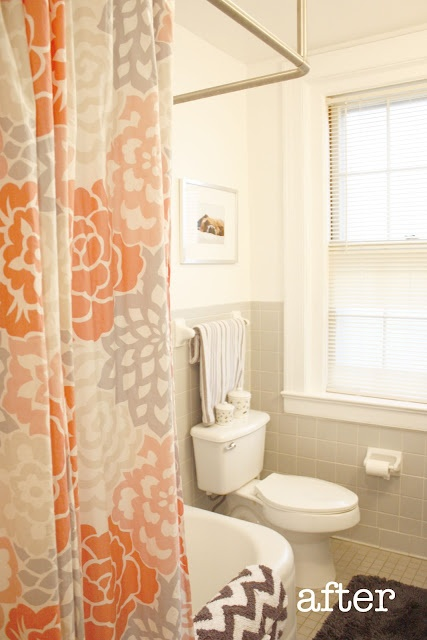 Orange and grey shower curtain with chevron towel i have for Orange and grey bathroom accessories