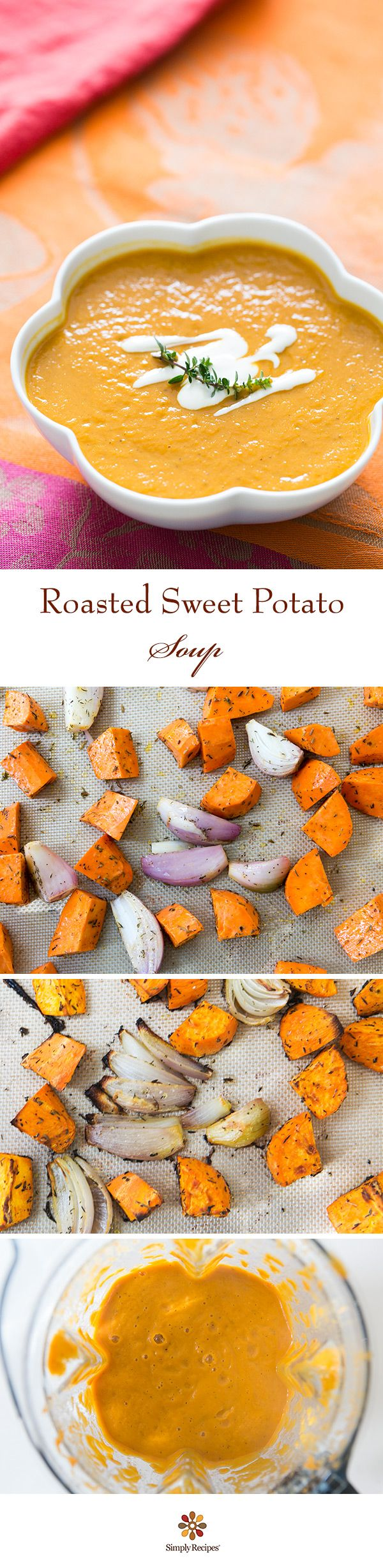 Easy and warming Roasted Sweet Potato Soup recipe with shallots, cumin, thyme, and stock. Swirl in a little yogurt to serve.