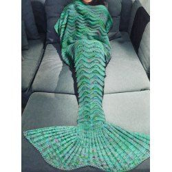 Fashion Knitting Raised Fish Scale and Tassel Design Mermaid Shape Sofa Blanket | NastyDress.com