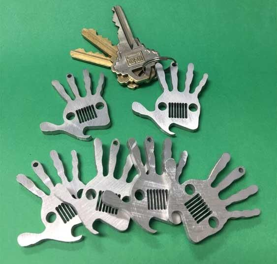 Jeep Wave Key Chain made out of High grade aerospace Aluminum, It is very strong and durable.This Wave has also bottle opener . This is tradition When two jeep