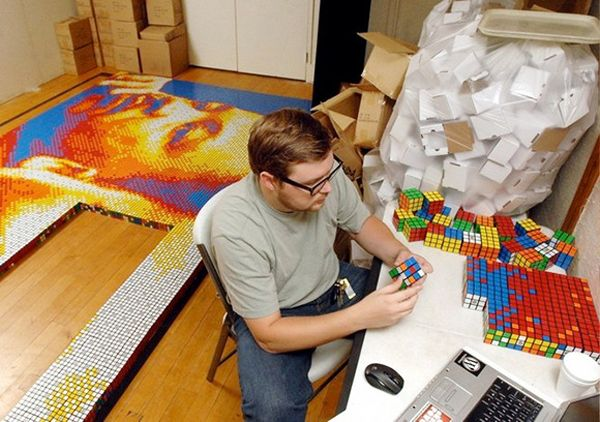 use the famous rubiks cube to build a portrait ... I guess this is only for smart people :-)...