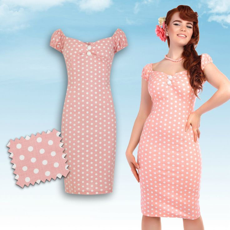 Robe crayon rose à pois Dolores style années 50/ Collectif Dolores pencil dress in pink polkadot print ♥ missretrochic.com boutique web glamour et rétro