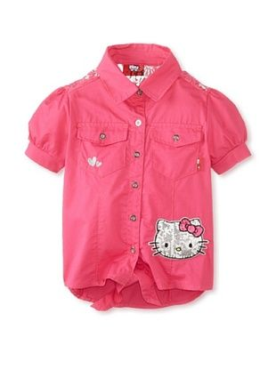 41% OFF Hello Kitty Girl's Tie Front Shirt (Fuchsia Purple)