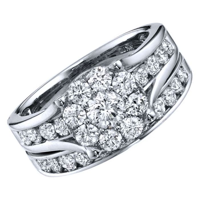 3ct D/VVS1 Engagement Ring Set in 10k Solid White Gold Bridal Jewelry #Affinityhomeshoping #SolitairewithAccents