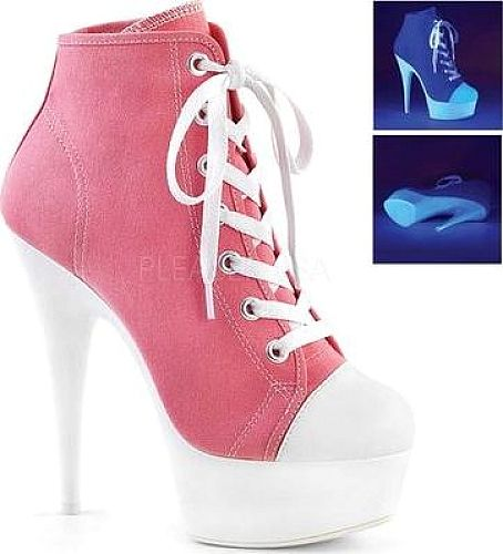 "Pleaser Women's Shoes in Pink Canvas Color. Walk in style with the sneaker-style Pleaser Delight 600SK-02 Lace-Up Bootie, featuring a UV-reactive platform and side zipper. Sneaker-style lace-up upper; UV-reactive platform bottom 1 3/4"" platform Inside zipper."