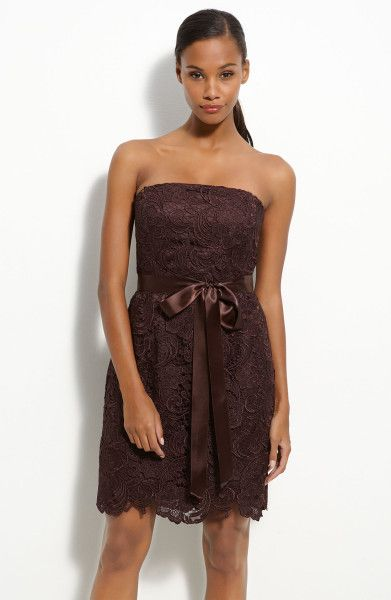 brown lace dress | ... Papell Strapless Lace Sheath Dress in Brown (chocolate) - Lyst