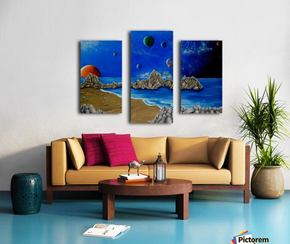 space, universe, cosmos, fantasy, sky, whimsical, art, painting, planets, blue