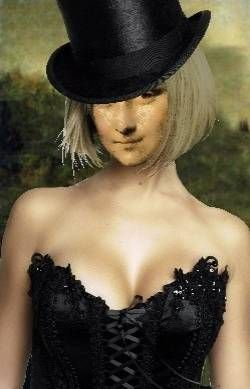 Blonde Mona Lisa with Top Hat