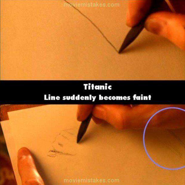 Errores de la película el Titanic donde se borra una línea