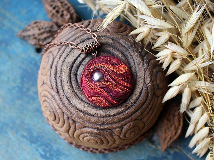 """Купить кулон """"Листопад"""" - бордовый, оранжевый, осень, осенние украшения, листопад, кулон на цепочке, подвеска"""